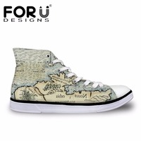 FORUDESIGNS Retro 3D Map Prints Women S Casual Vulcanized Shoes Fashion Women Spring High Top Canvas