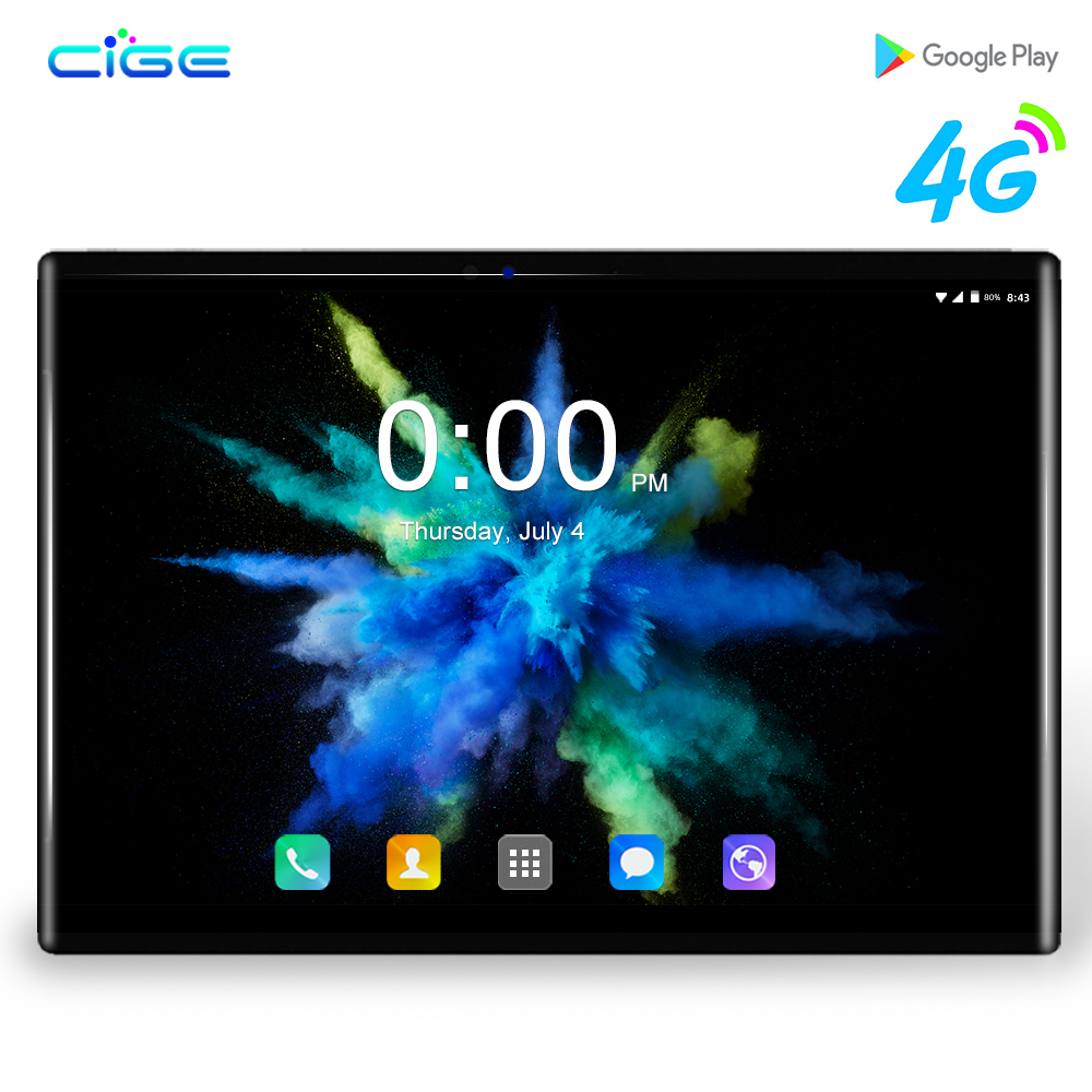 CIGE 4G LTE 10.1' Tablets Android 8.0 Octa Core Ram 6GB ROM 64GB Dual Camera 8MP Dual SIM Tablet PC Wifi GPS Bluetooth Phone