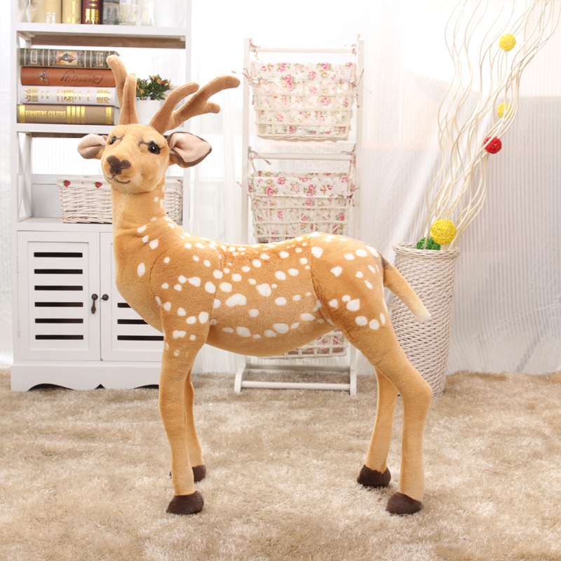 large 65x90cm simulation sika deer plush doll toy home decoration birthday gift h2834 gift n home