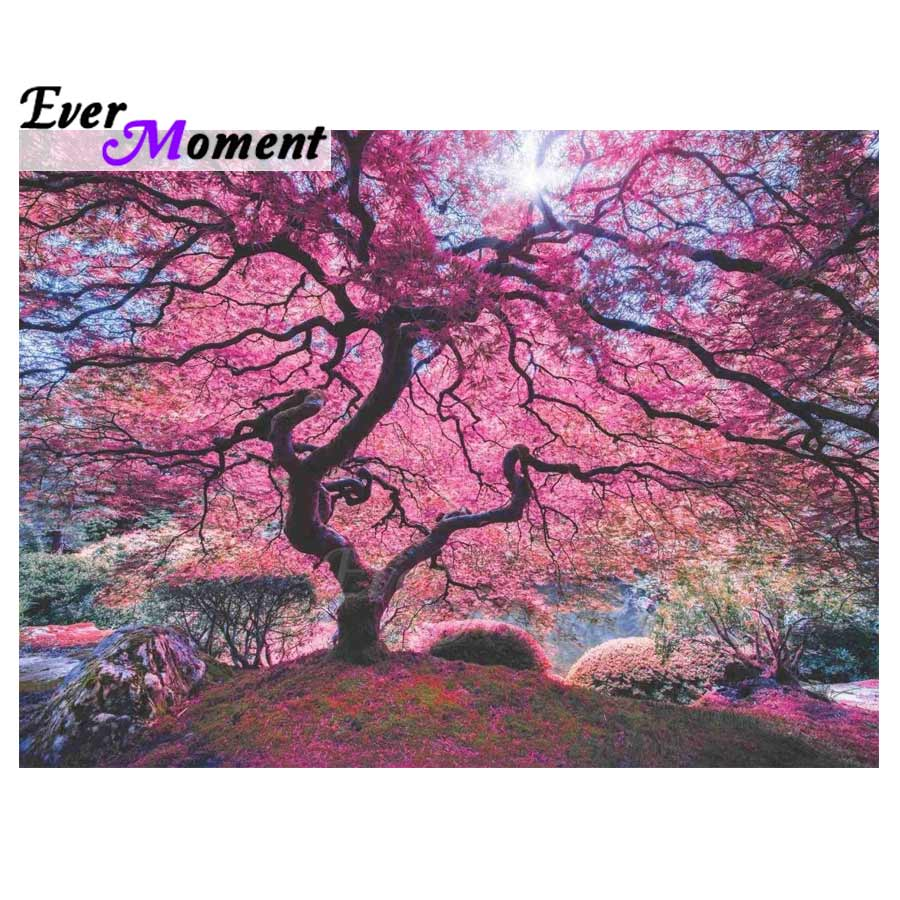 Ever Moment Diamond Painting Pink Tree Mosaic Full Square Drill Picture Of Rhinestone Diamond Embroidery Home Decoration ASF1446