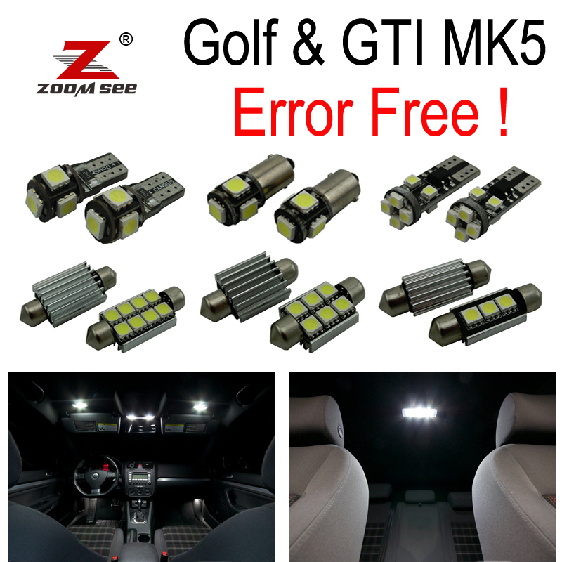 16pc X canbus for GTI Rabbit VW Golf 5 MK5 MKV map dome LED interior light + Parking city bulb kit (2006-2009) free shipping 11x vw golf 5 gt 2003 2008 white led lights interior package kit canbus 107