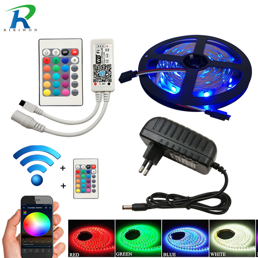 5M 10m 15m SMD 5050 60led/m Waterproof RGB LED strip Light Lamp diode wifi controller DC 12V adapter set Flexible Led tape strip rgb led strip 10m smd 5050 60led m flexible tape home decoration lighting 44keys ir controller 12v 10a power supply adapter