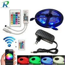 Tira de luces LED resistente al agua, 5M, 10m, 20M, SMD 5050, 60led/m, RGB, diodo, controlador wifi, adaptador DC 12V, cinta Flexible