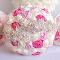 8 дюймов Пользовательские Кот Розовый кристалл Брошь Букет Невесты невесты Жемчуг Ювелирные Изделия Шелковые розы Букет невесты свадебные букеты