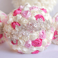 8 inch Custom Ivory Pink  crystal Brooch Bouquet Bridal bride's  Pearls Jewelry Silk roses Bouquet wedding bridesmaid bouquets