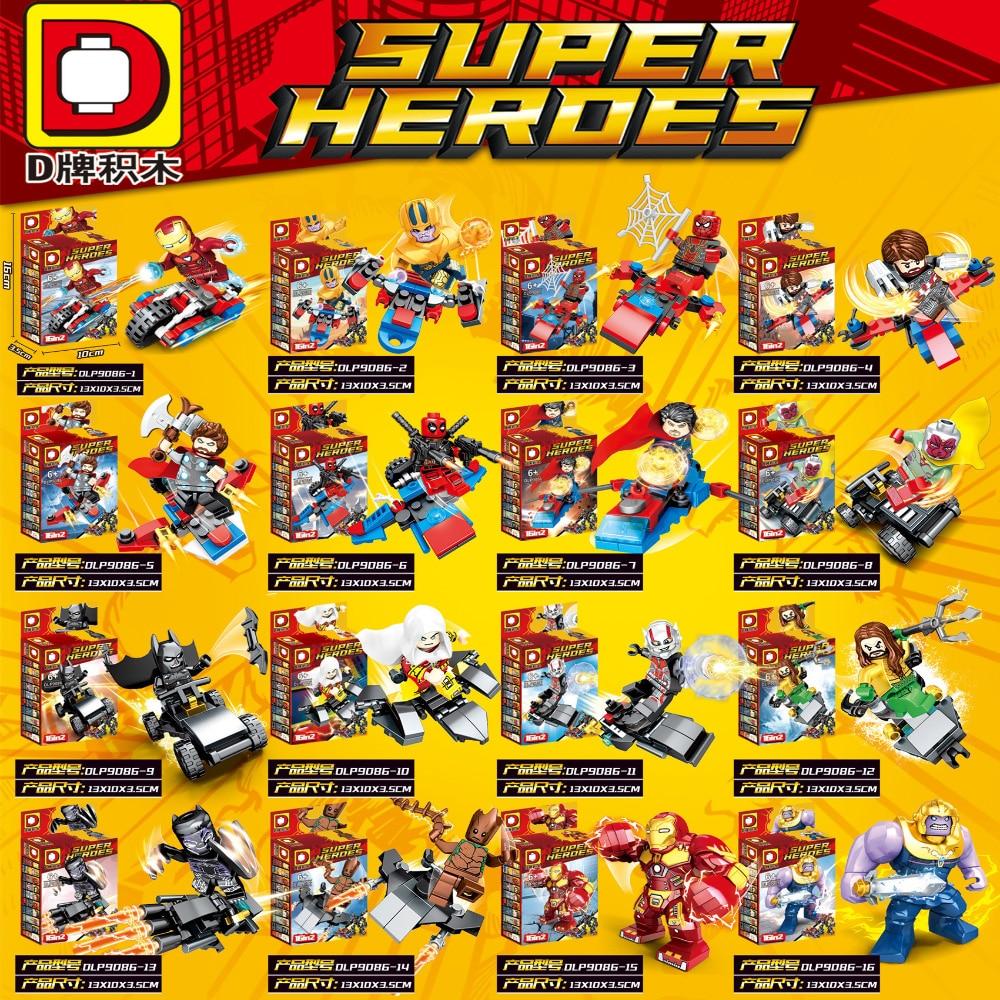 16pcs lot Figure Legoingly Super Hero Avengers Captain Marvel Ant Man Wasp Building Blocks Hulk Black Panther Toys For Children in Blocks from Toys Hobbies