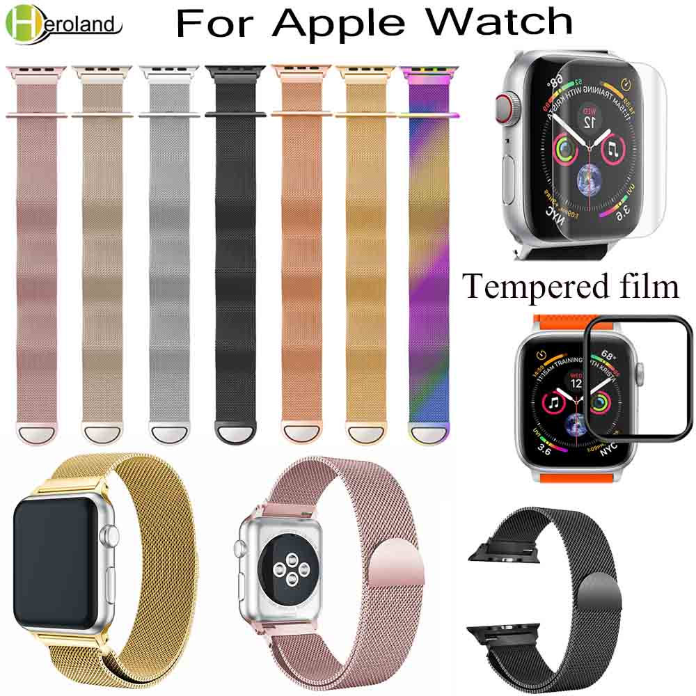 Watch Strap Stainless Steel Milanese Loop BandS For Apple Watch Series 1/2/3 42mm 38mm 40mm 44mm Bracelet For I Watch 4 Film