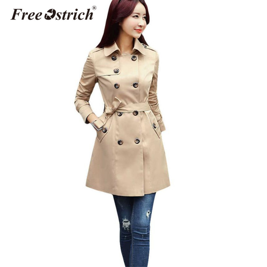 Free Ostrich   Trench   Coat 2019 Autumn Woman Classic Double Breasted Business Outerwear S25