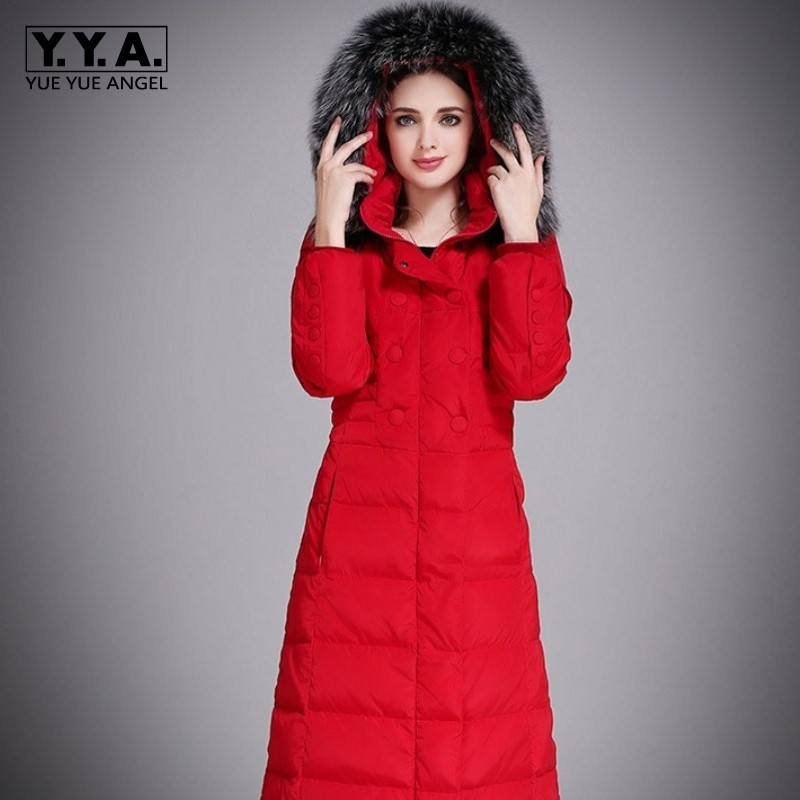 Brand Hooded Faux Fox Fur Collar Women Oversize   Down   Jacket Winter Warm Korean Slim Plus Size 5XL Long   Down     Coat   Female Parkas