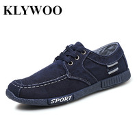 KLYWOO Canvas Men Shoes Denim Lace Up Fashion Men Casual Shoes New Brand Luxury Sneakers Men