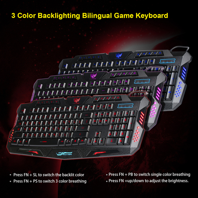 2016 New Multimedia Russian Keyboard 104 Keys 3 Colour LED Backlit Gaming Keyboard USB Wired For Laptop Desktop PC