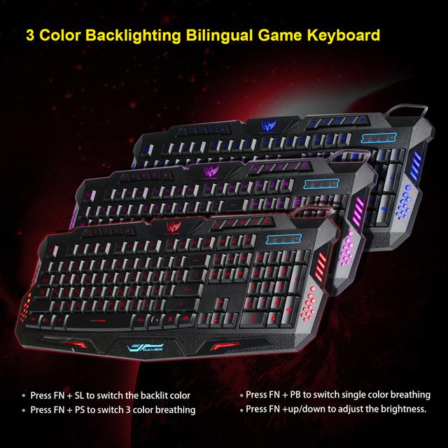 2016 New Multimedia Russian Keyboard 104 Keys 3 Colour LED Backlit Gaming Keyboard USB Wired For Laptop Desktop PC
