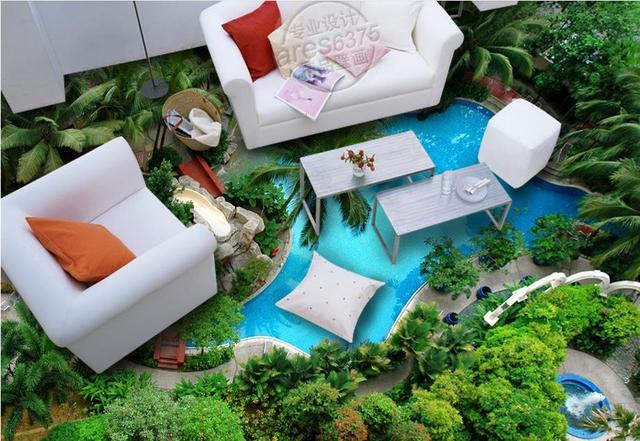 US $28.55 49% di SCONTO|3d personalizzato pavimenti Piscina cascata camera  da letto carta da parati 3d pavimenti in pvc acqua autoadesiva 3d carta da  ...