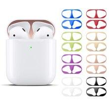 Autocollant de Protection anti poussière pour placage de métal pour Apple AirPods 2 écouteurs Bluetooth couverture intérieure anti poussière autocollant résistant aux rayures