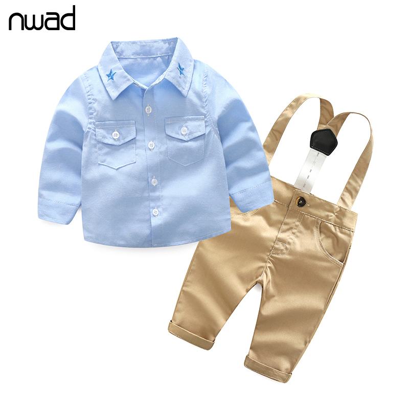 NWAD Boys Baby Clothing Sets Springs Fshion Newborn  Infant Clothing Gentleman Suit Plaid Shirt+Bow Tie+Suspender Trousers FF387 fashion baby boy gentleman clothing sets suit newborn baby bow tie plaid shirt jeans pants set cotton baby clothes outfits