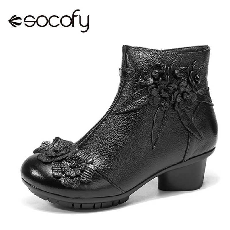 Socofy Vintage Blume Stiefeletten Frauen Schuhe Aus Echtem Leder Stiefel Für Frauen Casual Zipper Winter Schuhe Frau Retro Botas Mujer