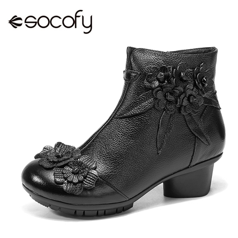 все цены на Socofy Vintage Flower Ankle Boots Women Shoes Genuine Leather Boots For Women Casual Zipper Winter Shoes Woman Retro Botas Mujer