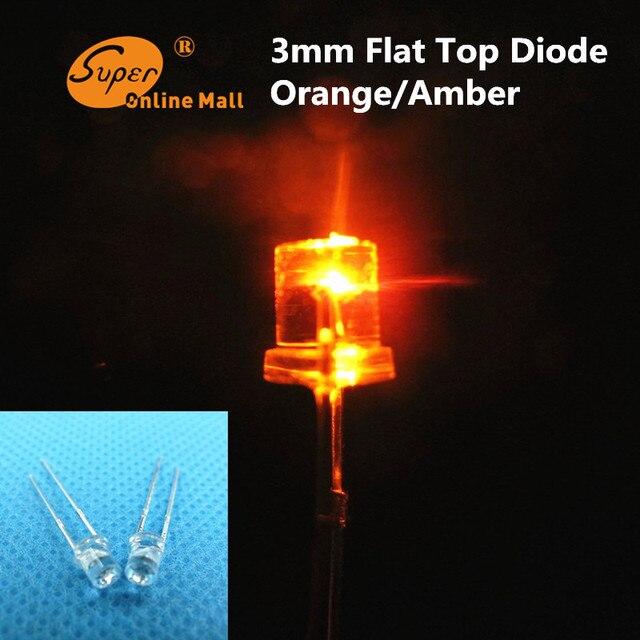 8mm Orange Led: 100 Pcs Led 3mm Orange/Amber Flat Top Led Diode Ultra
