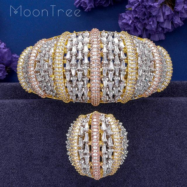 MoonTree Fashion Luxury Super 3 Tone Boom Flowers AAA Cubic Zirconia Women Party Engagement Width Bracelet Bangle And Ring Set
