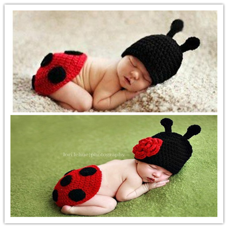 Hand-woven neonatal beetle clothes Baby boy and girl + crochet for hip to urinate brim hat