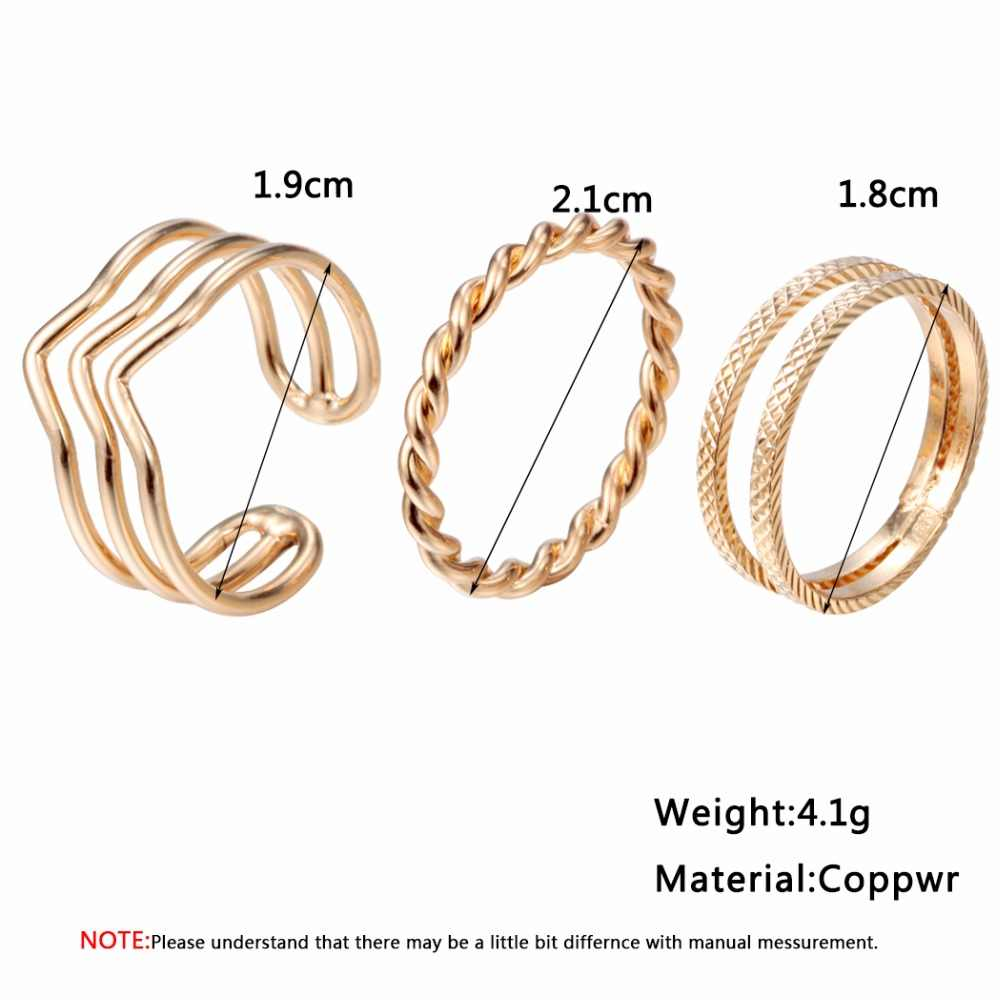 QIMING Gold Ring Female Two Three Line Adjustable Thin Rotate Minimalist Jewelry Korean Simple Finger Knuckle Toe Ring for Women