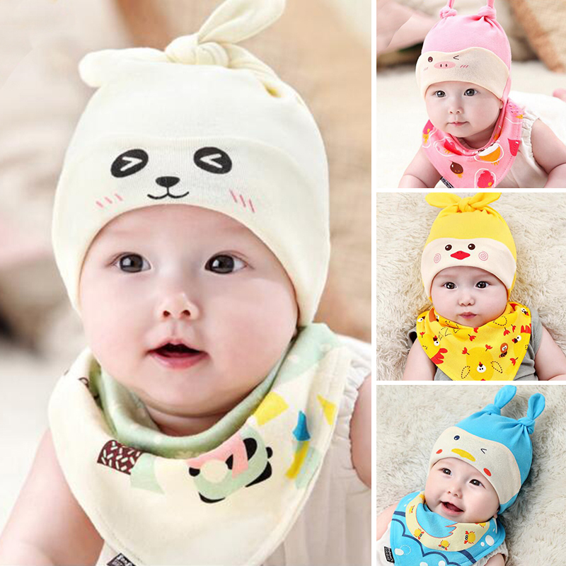 2 pcs/set New Baby Hat Bib Set Cartoon Cotton Beanie Baby Boy Girls Hats Kids Hat Photo Accessories For Photography XV2