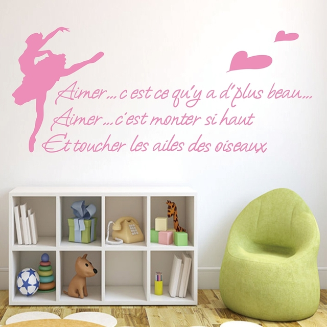 154x58cm french sayings rotating ballet dance decoration wall stickers room decor free shippingw10201
