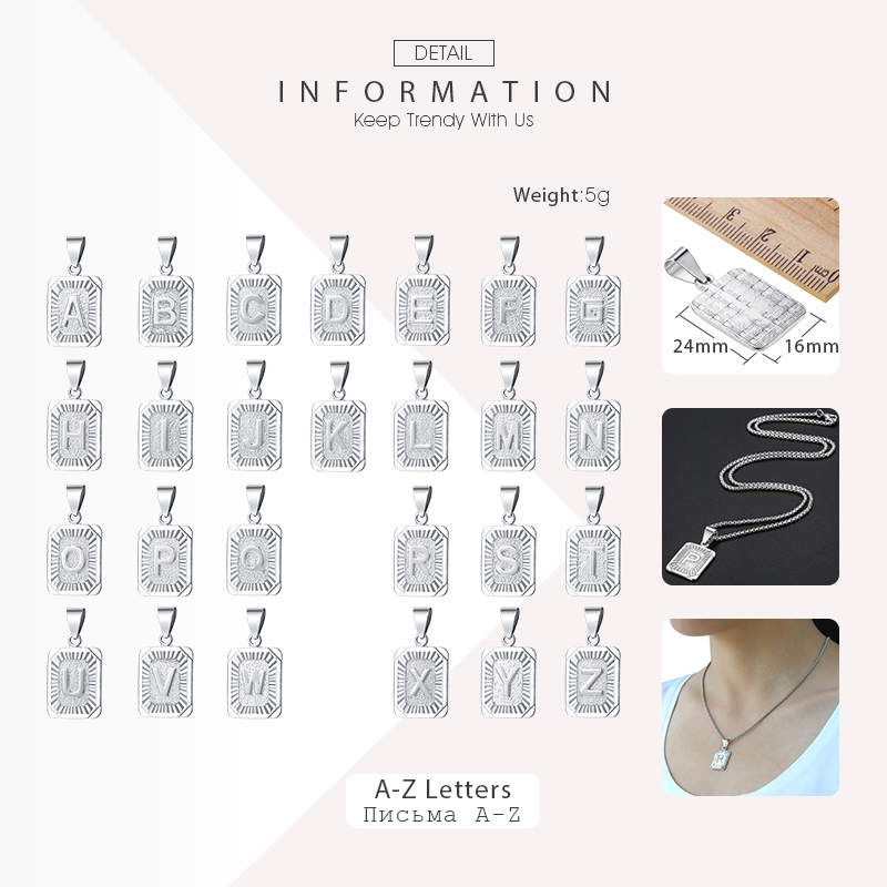 Initial Chain Necklace For Women Men Letter Pendant Charm Necklace Gold Silver Rose Gold Color 22 inch
