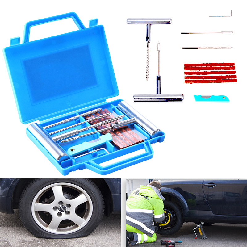 11Pcs Car Van Motorcycle Bike Emergency Heavy Duty Tubeless Tire Puncture Repair Kit Plug Set Tyre Repair Kit(Knife Random Color