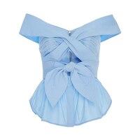 Sisjuly Fashion Women S Blouse Shirts Slim Cold Shoulder Light Blue Beautiful Female Blouses For Summer