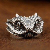 925 Sterling Silver Adder Viper Snake Ring Mens Biker Ring TA87A US 7 To 15