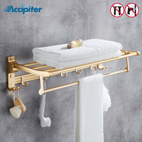 Nail free Gold Silver Foldable Bath Towel Racks Active Bathroom Towel Holder Double Towel Shelf With Hooks Bathroom Accessories