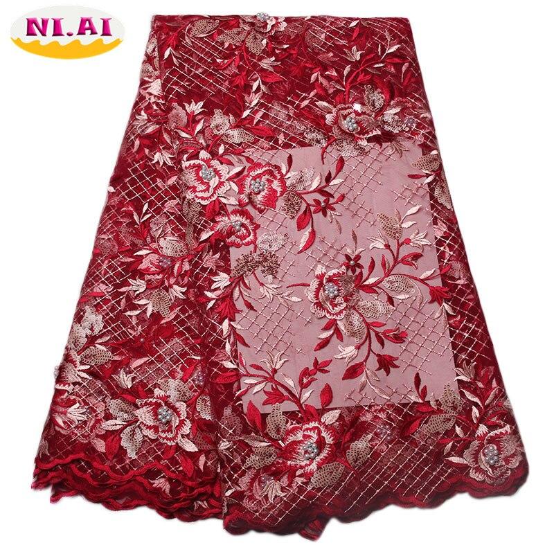 Paillettes dentelle tissu fleur brodé dentelle garniture nigériane dentelle tissus pour mariage 2017 français Nigeria blanc dentelle tissu XY954B-1