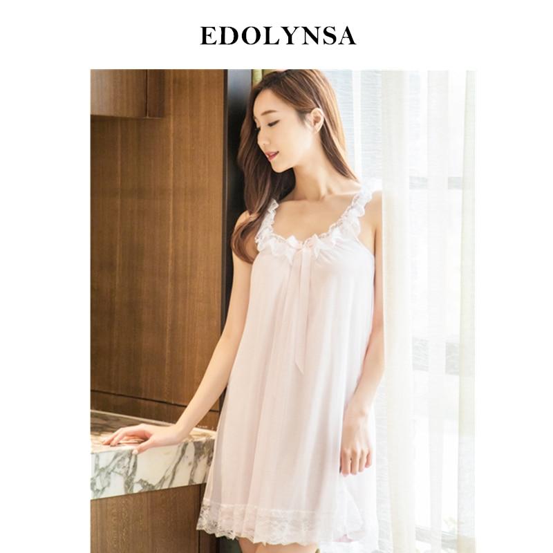 28e9f88a21 Nightgowns Sleepshirts 2019 Lace Sleepwear Sexy Home Dress Spaghetti Strap  Nightdress Modal Sleep   Lounge Nightgown Female H422