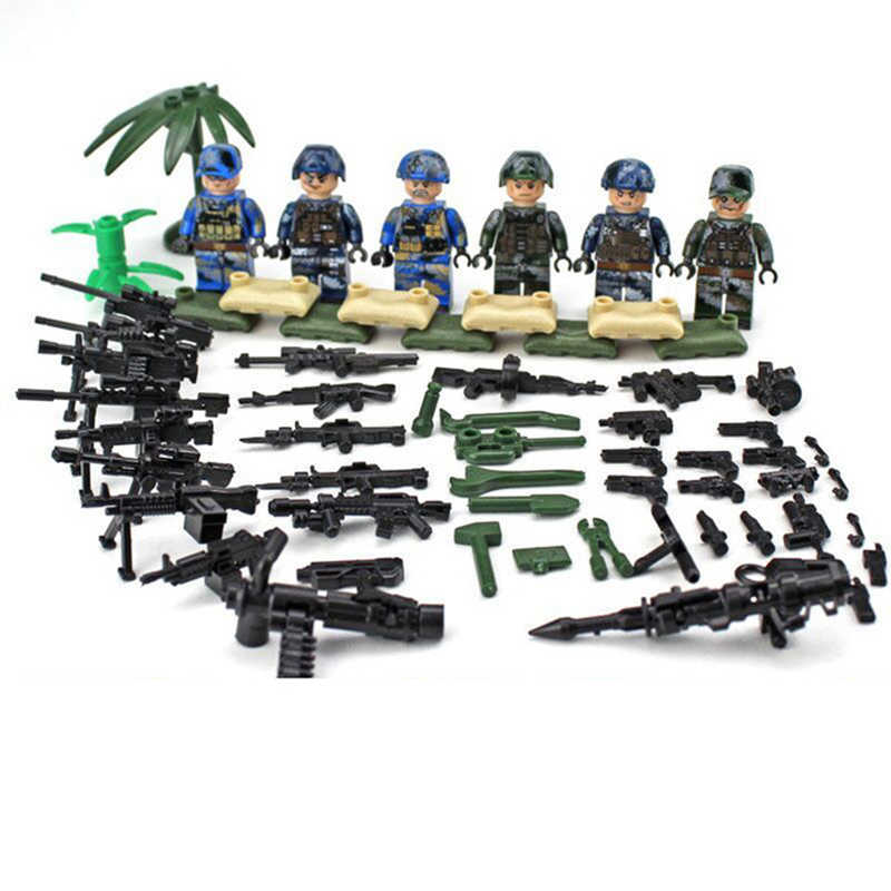 Navy Army Air Force Compatible LegoINGlys Military SWAT Soldiers Heavy Fire CS Building Blocks Figures Toys for Boys Gifts