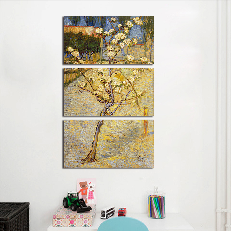 Big size 3pcs/set decoration Blossoming Pear Tree wall art picture ...