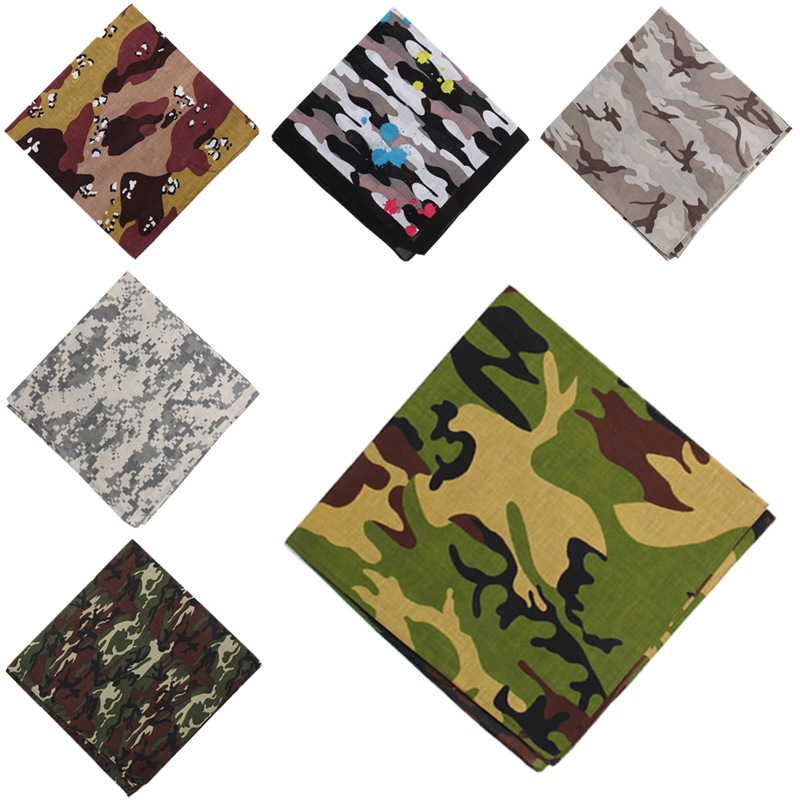 Camouflage Bandanas Cotton Headwear Women Scarves Headband Men Camping Mask Gaiters Braga Cuello Hiking Scarves High Quality