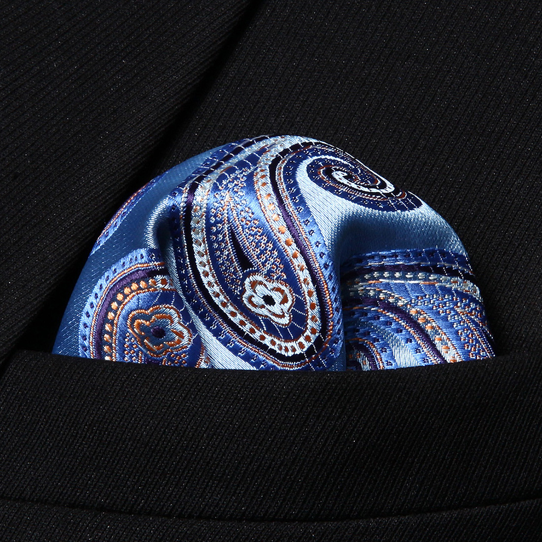 HP705B Blue Orange Paisley Men 100% Silk Party Handkerchief Pocket Square Hanky