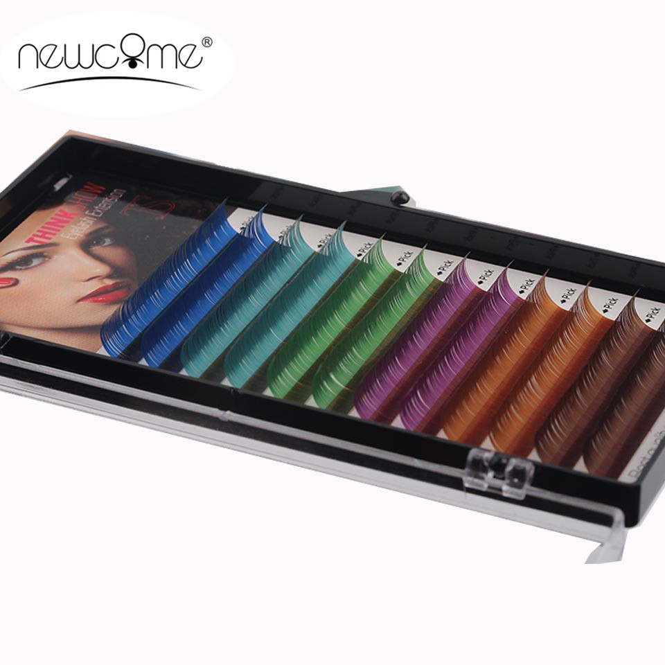Rainbow Color valse wimperextensies C / D Curl 10-12 mm synthetische vezels Silk Mink Lashes Wimper Extension 1 Tray