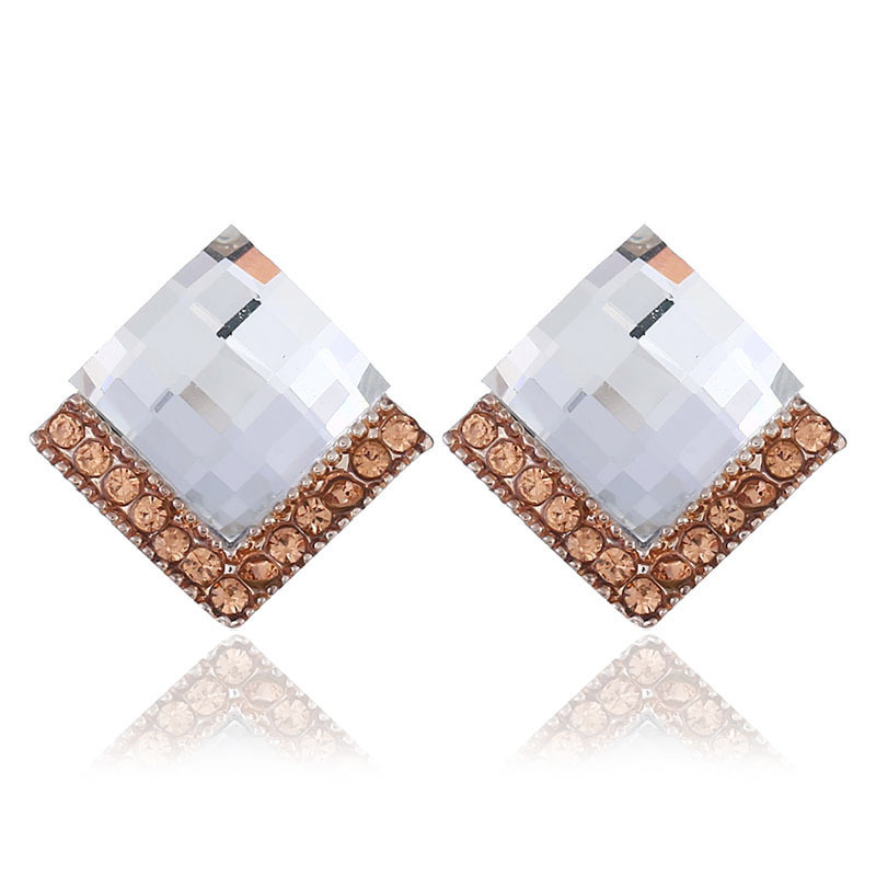 Hot Sale Fashion Rhombic Zircon Crystal Earrings For Women Accessories Korean Style Women Girl Gifts Dropshipping in Stud Earrings from Jewelry Accessories