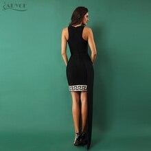 ADYCE 2018 Women Bandage Dresses Sexy Geometric Print Black Sleeveless Lace Celebrity Evening Party Dress Vestidos Free Shipping