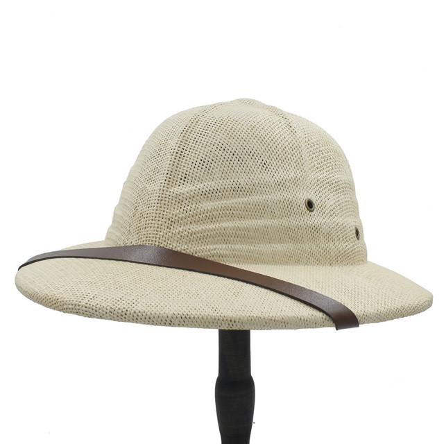 Novelty Summer Men Straw Helmet Pith Sun Hats For Gentleman Vietnam War Army Hat Dad Boater Bucket Safari Jungle Miners Cap