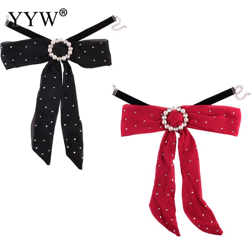 Fashion Choker Necklace Velvet Necklace Collar Red Cloth Pearl Crystal Wave Point Bowknot Choker Jewelry For Women Girl Gift