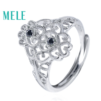 MELE Natural Black Spinel 925 sterling silver rings for women,Fashion classic style wtih 2 pieces 0.04ct 1.8mm gemstone hotsell