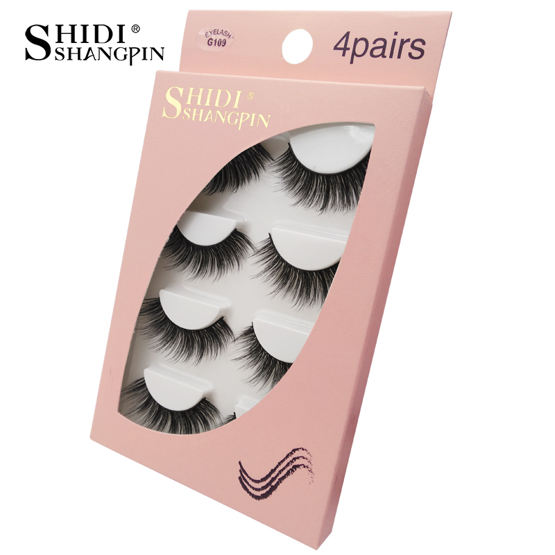 HTB1yWwuaPvuK1Rjy0Faq6x2aVXa0 Natrual long 3D Mink False Eyelashes wholesale 4 pairs Fluffy Make up Full Strip Lashes 3D Mink Lashes faux cils Soft Maquiagem