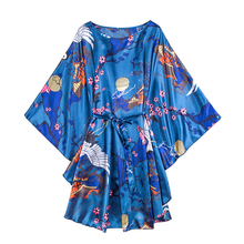 Wasteheart Women Fashion Pink Blue Sexy Mini Nightdress Faux Silk Night Sleepwear Sleepshirt Nightgown Flower Printed