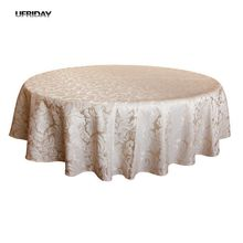 UFRIDAY Round Table Cloth Top Damask Jacquard Tablecloth Waterproof Dining Table Cover Mat for Home Kitchen Dinning Decor Party