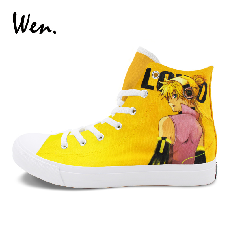 Wen Sneakers High Top Gym Flat Design Hatsune Miku VOCALOID Anime Hand Painted Shoes Black Canvas Men Women Footwear wen design custom hand painted anime shoes bleach high top black women men s canvas sneakers adult boys girls athletic shoes