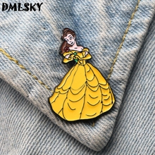 DMLSKY Beauty and the Beast Cartoon Women girl Enamel Pin Backpack Badge Clothes Brooches Tie Collar Pins Jewelry M3228