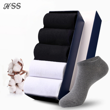 цена на HSS Brand 100% Cotton Men Socks Summer Thin Breathable Socks High Quality No Show Boat Socks Black Short For Students 6Pairs/lot